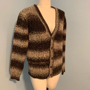 Sweater Cardigan Brown Tan Button Front.